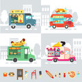 Food Truck Flat Design Style Modern Vector Illustration Royalty Free Stock Images - 75167359