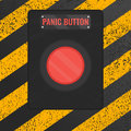 Panic Button Sign On Yellow Striped Background Stock Photo - 75175160