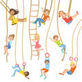 Kids On Swings And Other Rope Sports Equipment Royalty Free Stock Photo - 75180195