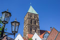 Street Light And Church Tower In Rheine Royalty Free Stock Images - 75180209