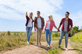 People Group Friends Walking Countryside Road Two Couple Happy Smile Royalty Free Stock Photo - 75188035