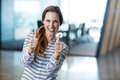 Woman Showing Thumbs Up In Office Royalty Free Stock Photos - 75197008