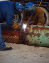 Welding Two Pipes Together Stock Images - 7520394