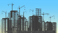 Building City Under Construction Website Process With Tower Cranes Silhouette. Constructions Infographics Template Royalty Free Stock Images - 75200399