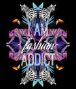 I Am Fashion Addict Slogan. Animals And Tropical Plants Trendy Mirror Print Royalty Free Stock Photography - 75204407