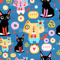 Seamless Pattern With Funny Cats Royalty Free Stock Photos - 75209528