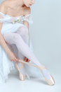 Professional Ballerina Putting On Her Ballet Shoes Royalty Free Stock Images - 75228209