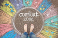 Comfort Zone Concept. Feet Standing Inside Comfort Zone Circle. Royalty Free Stock Photos - 75234308