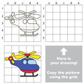 Funny Helicopter. Copy The Image Using Grid. Stock Photos - 75236343
