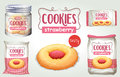 Set Of Strawberry Cookies In Different Packages Stock Photos - 75243293