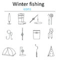Set Of Linear Web Icons Winter Fishing. Accessories For Fishing On The Ice. Stock Photo - 75243530