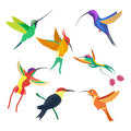 Small Bird Hummingbird Set Vector Illustration  On White Background Stock Image - 75252681