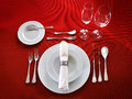 Table Setting On Red Background Stock Photo - 75254650