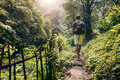 Young Man Hiking Into The Forest Royalty Free Stock Image - 75261126