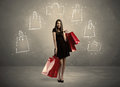 Mall Lady With Drawn Shopping Bags On Wall Stock Photos - 75267553