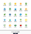 Abstract Logo Set For Business Company. Ecology Plant, Bio Nature, Tree, Flower Concepts. Environment, Green, Recycle Stock Image - 75280391