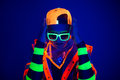 Young Guy In Creative Costume With Neon Glow. Stock Photos - 75293103