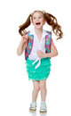 Schoolgirl Jumping With A Briefcase Royalty Free Stock Photo - 75297065