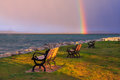 A Rainbow Over Traverse Bay Royalty Free Stock Photo - 75306605
