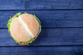 Burger On Wooden Table Top View Stock Images - 75307224