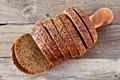 Sliced Whole Grain Bread With Flax, Above View On Wood Royalty Free Stock Image - 75310436