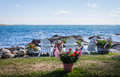 Patriotic Potted Flowers Are Seen Among White Adirondack Chairs Overlooking The Beautiful Blue Bay Royalty Free Stock Photography - 75318217