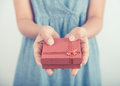 Woman Hands Holding Gift Box Give For Christmas Or New Year Stock Photo - 75326330