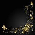 Gold Flowers With Shadow On Dark Background. Royalty Free Stock Image - 75328006