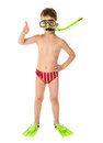 Boy In Diving Mask With Thumb Up Sign Stock Images - 75329734