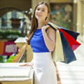 Happy Brunette Woman With Some Red Shopping Bag Royalty Free Stock Images - 75329989