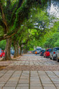PORTO ALEGRE, BRAZIL - MAY 06, 2016: Nice Sidewalk With L,ot Of Trees On It, Cars Parked Next To The Sidewalk Stock Photography - 75339402