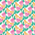 Pale Color Tulip Flower Seamless, Pattern. Royalty Free Stock Image - 75348776