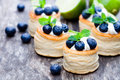 Puff  Pastry Stuffed With Soft Cream Cheese And Blueberry With L Stock Images - 75355134