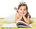 Little Princess Reading Fairytale Royalty Free Stock Photography - 75358417