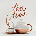 Tea Time Quote With Teapot And Cup 3D Rendering Stock Images - 75362464