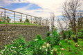 Two Level Garden Terrace  With  Garden And Wall From Gabions Stock Photos - 75365303