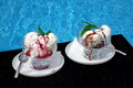 Misted Two Glass Bowl With Ice Cream Sundae Balls, Fruit And Cho Stock Photos - 75365333