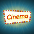 Cinema. 3d Retro Light Banner With Shining Bulbs. Red Frame With Blue And Yellow Lights And Text Cinema On Bright Background. Royalty Free Stock Photos - 75369148