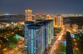 The View From The Height On High-rise Building On The Outskirts Of Moscow, In The Night On The Background Of The River Royalty Free Stock Photography - 75392057