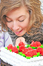 Girl With Big Cake Royalty Free Stock Photography - 7540397
