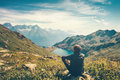 Traveler Man Relaxing Meditation With Serene View Stock Photography - 75404442