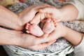 Baby Feet In Parents Hands. Tiny Newborn Baby S Feet On Parents Royalty Free Stock Photos - 75432728