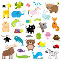 Zoo Animal Set. Cute Cartoon Character Collection. Isolated. White Background. Baby Children Education. Alligator, Bear, Cat, Duck Stock Image - 75441631