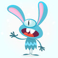 Cute Blue Monster Rabbit. Halloween Vector Bunny Monster With One Big Eye Presenting. Isolated On White Stock Photo - 75443830