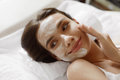 Face Skin Care. Beautiful Woman With Facial Cosmetic Mask At Spa Stock Image - 75487241