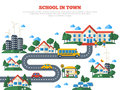 Road To School In Town  On White Royalty Free Stock Photography - 75493747
