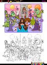 Fantasy Characters Coloring Page Stock Photos - 75505613