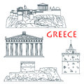 Ancient Travel Landmarks Of Greece Thin Line Icon Stock Images - 75526324