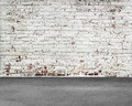 Old Stripped Bricks Wall With Dirty Concrete Floor Stock Image - 75526701