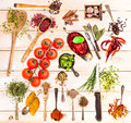 Collage Of Spices Stock Photography - 75527142
